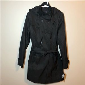 Tommy Hilfiger black trench coat size medium